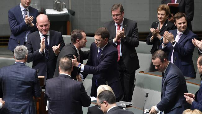 MPs congratulate Julian Leeser after his maiden speech about loss and suicide from his personal experience.Source:Supplied